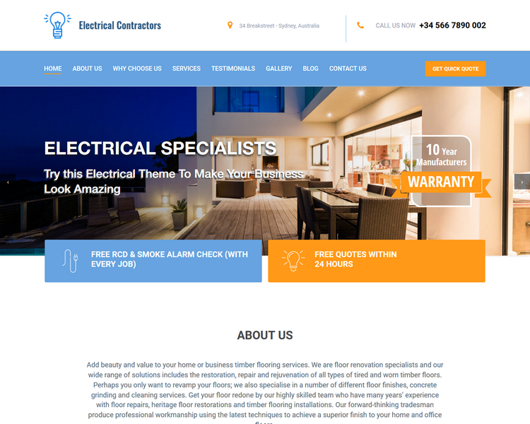 electrical website template